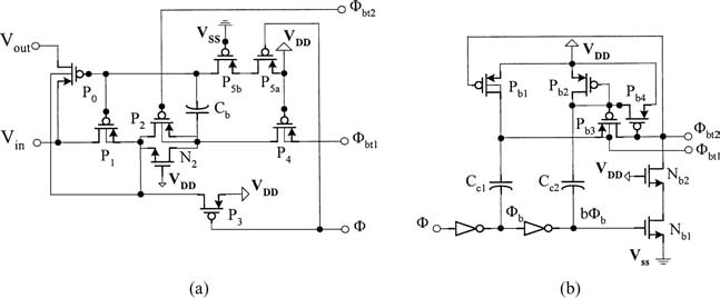 (a) Simple low-voltage pMOS bootstrapped switch, (b) pMOS