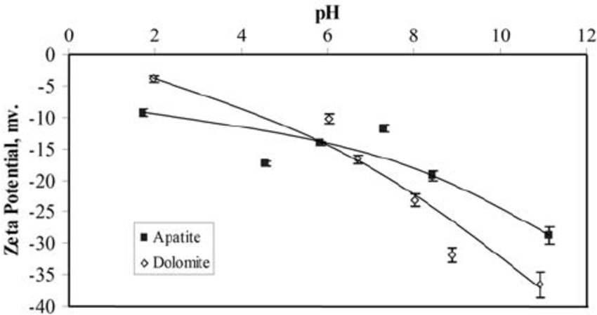 Zeta potential of dolomite and apatite at constant ionic