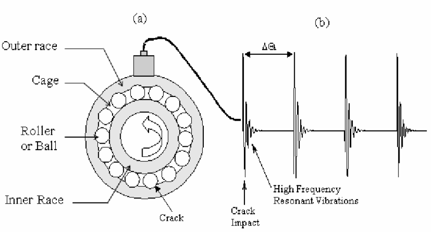 (a) Schematic diagram of rolling element bearings, and (b