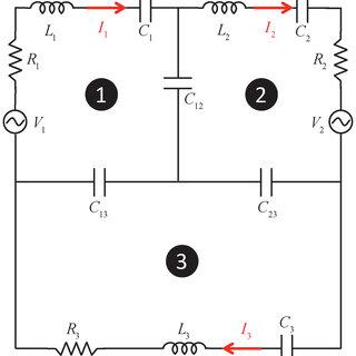 Schematics of the three-loop RLC circuit. Two-loop circuit