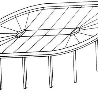 3) Radial cable beam structure with inner tension ring and