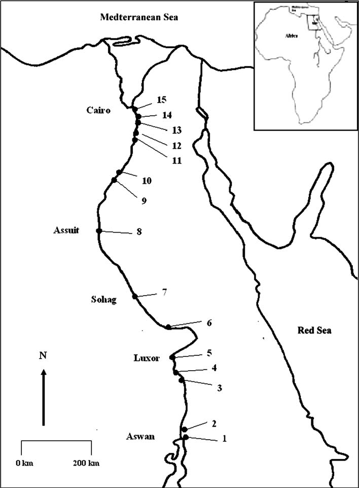 Map of sampling sites on the River Nile from Aswan to Al