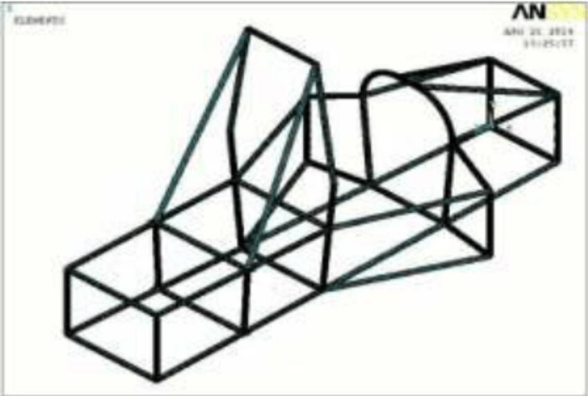 Isometric view of the simplified race car chassis model in