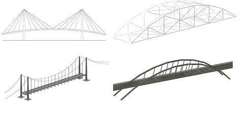 Pedestrian bridge options, clockwise from top left: stayed