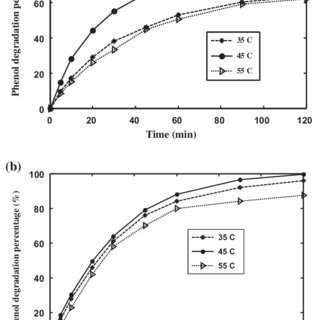 Effect of hydrogen peroxide concentration on the phenol