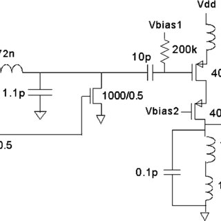 Simplified schematic of differential LNA incorporating