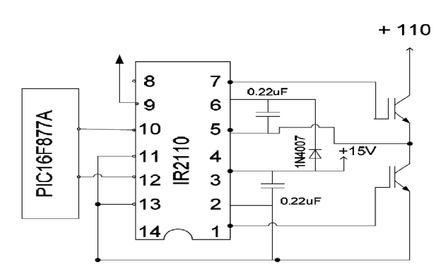 The dual circuit of two IGBTS in the control circuit