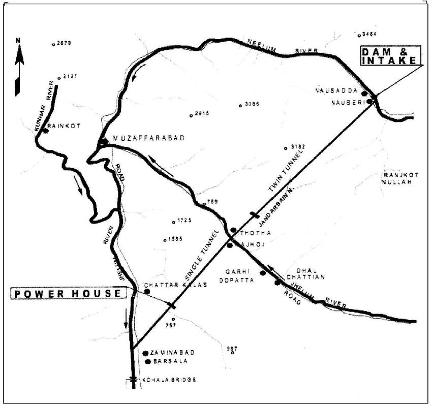 Location map of Neelum Jhelum Hydro Power Project