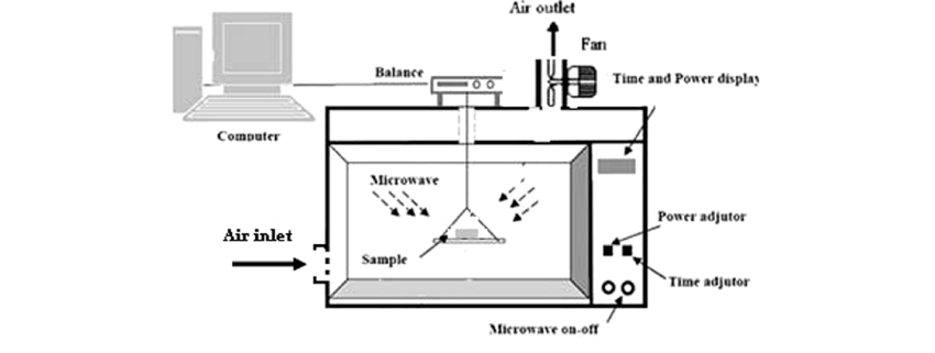 A schematic diagram of microwave–convective oven dryer