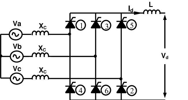 Equivalent circuit for three-phase full-wave bridge