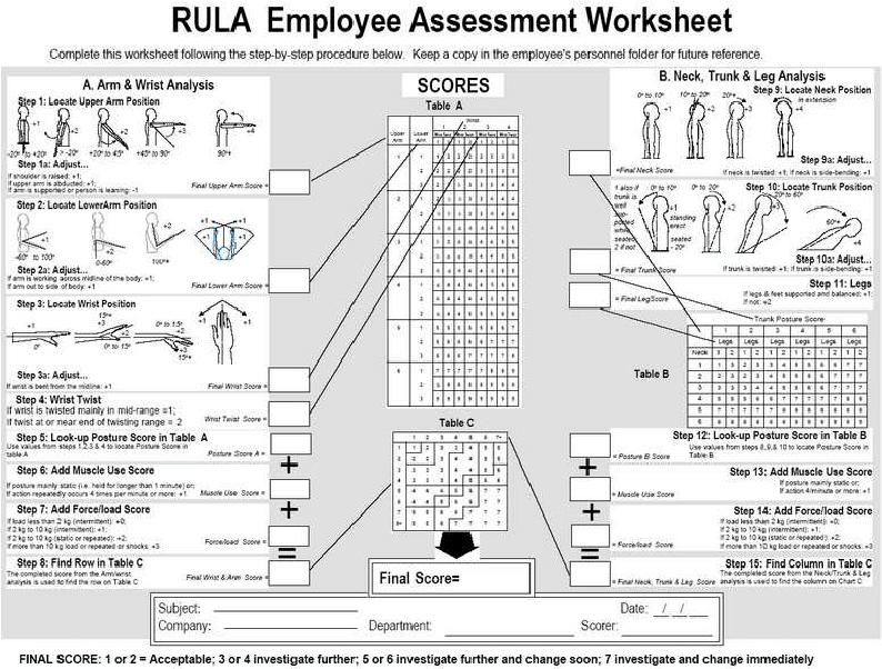 Rula Employee Assessment Worksheet 11