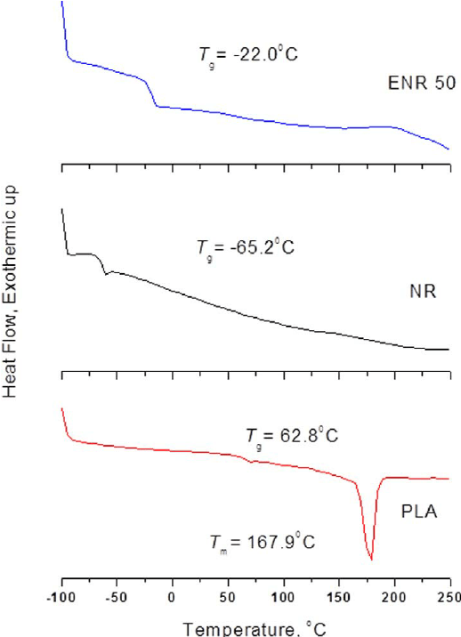 DSC thermograms of (a) Neat PLA, (b) NR and (c) ENR50. DSC