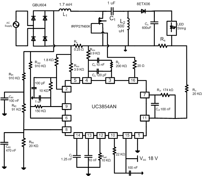 The complete experimental circuit of the power stage with