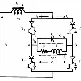 Circuit diagram of current source inverter, R-L load with