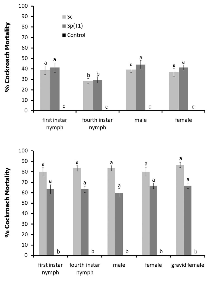 hight resolution of mortality of american a and german b cockroaches caused by entomopathogenic nematodes and as affected
