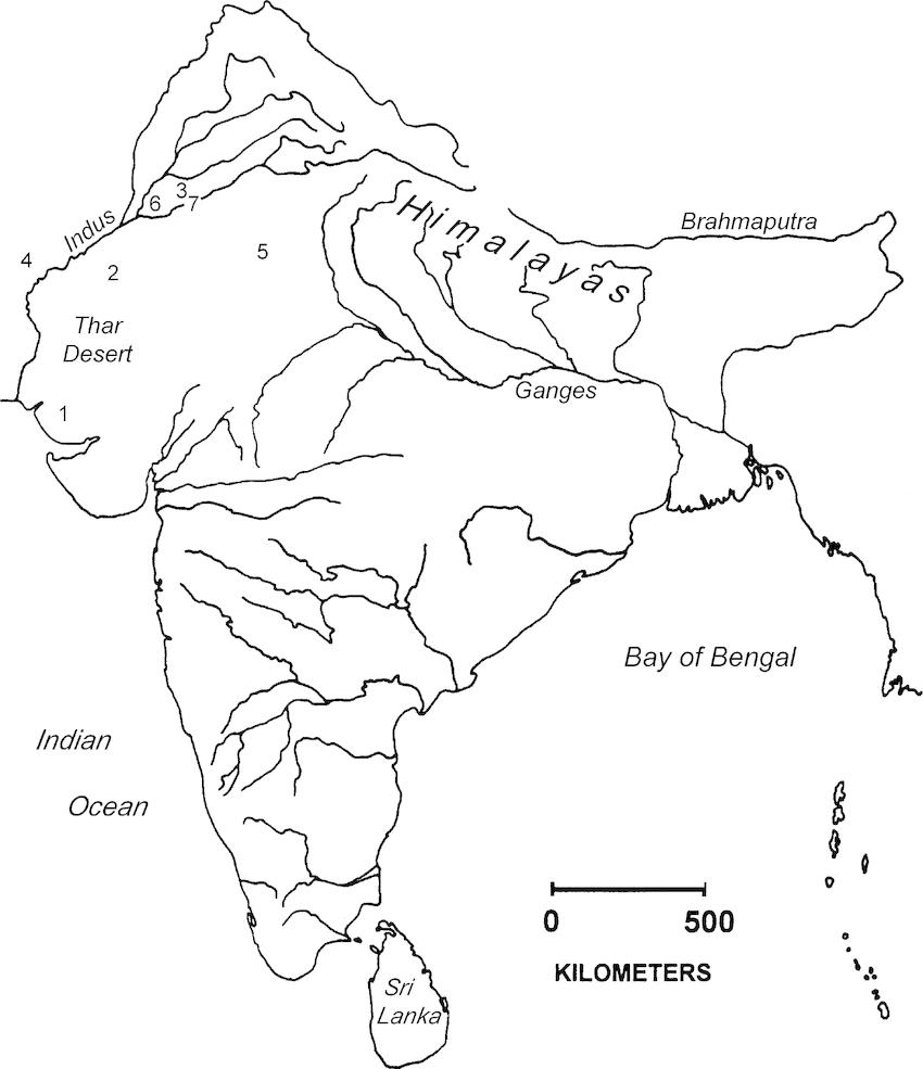 Cities of the Indus period (1 = Dholavira; 2 = Ganweriwala
