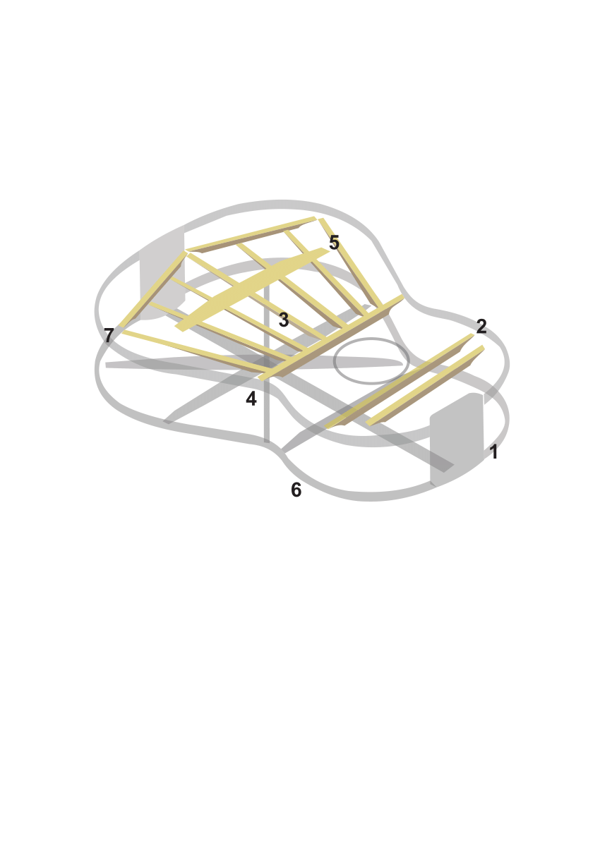 hight resolution of guitar internal structure 1 heel block 2 transversal bars 3 longitudinal bars