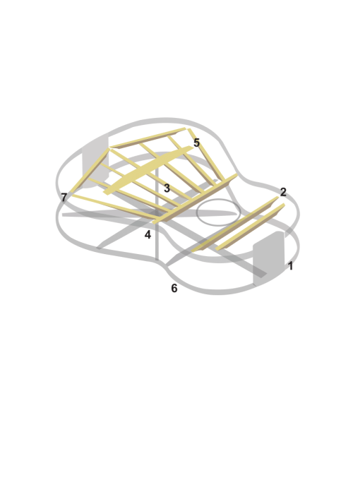 small resolution of guitar internal structure 1 heel block 2 transversal bars 3 longitudinal bars
