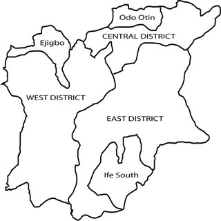 Map of Osun State showing the three senatorial districts