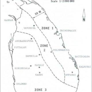 Wind Zones in Sri Lanka (Design manual
