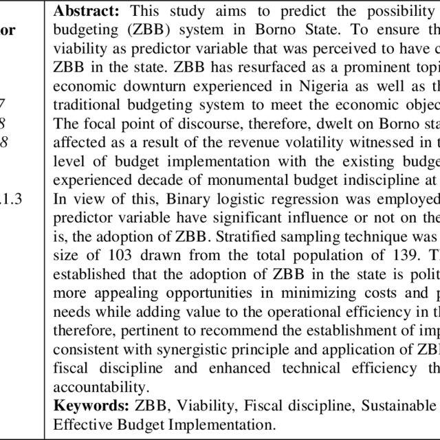 (PDF) zero-based budget