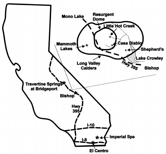 California hot springs sampled in the study: Travertine