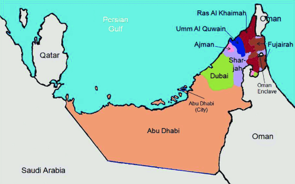 Map of United Arab Emirates showing the four participating