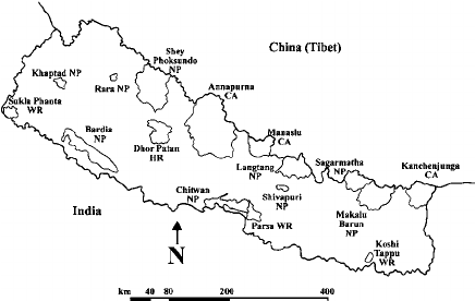 Map of protected areas of Nepal. NP = National Park, WR