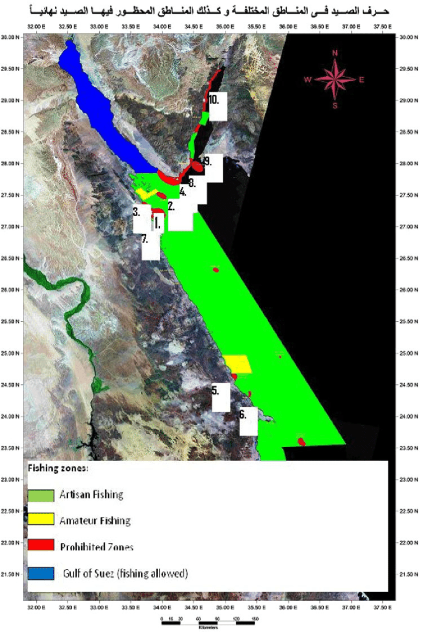 Map of fishing zones in the Egyptian Red Sea. Fishing is prohibited at:...   Download Scientific Diagram