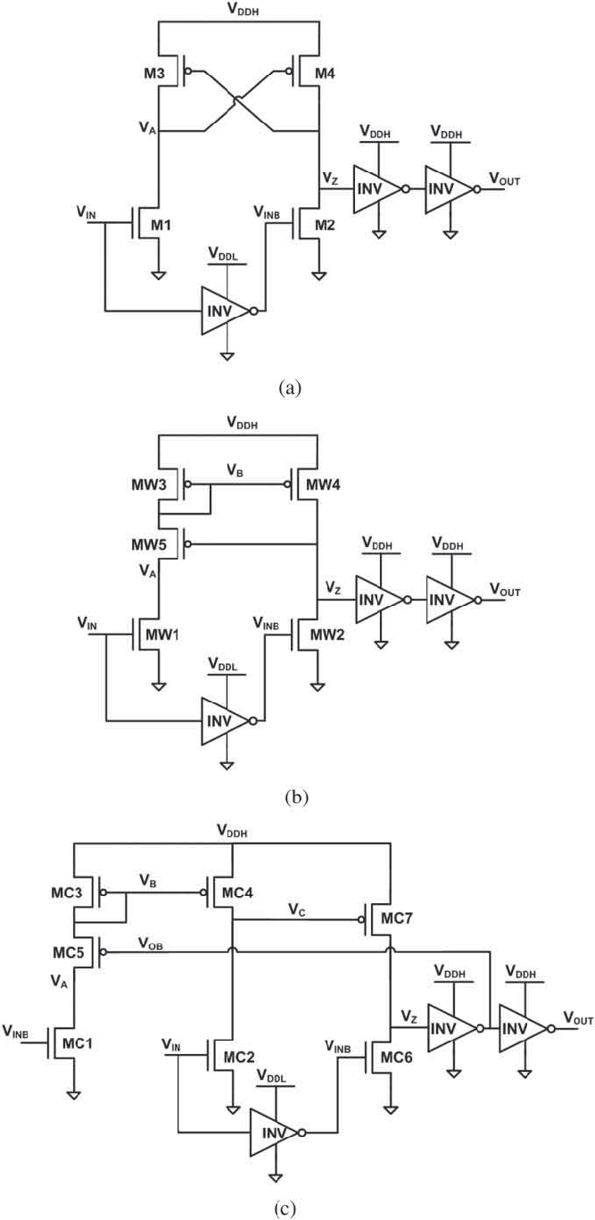 hight resolution of level shifter circuit schematics a conventional cross coupled half latch