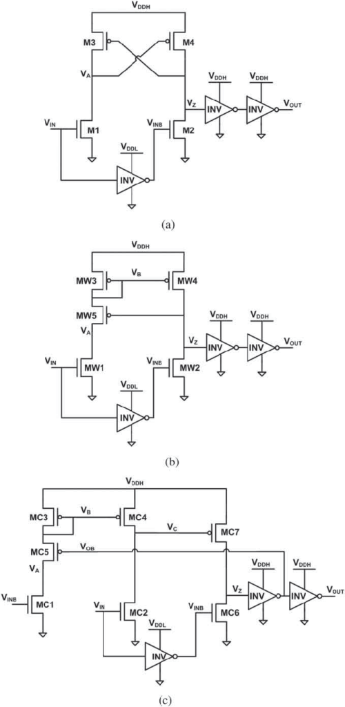 small resolution of level shifter circuit schematics a conventional cross coupled half latch