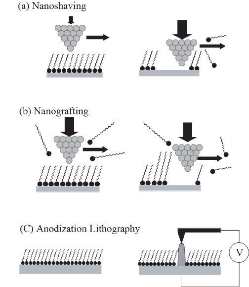 Fig. 1. Various lithographic methods using SPM probe on