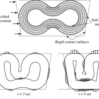 Swaging simulation: finite element mesh (top) and