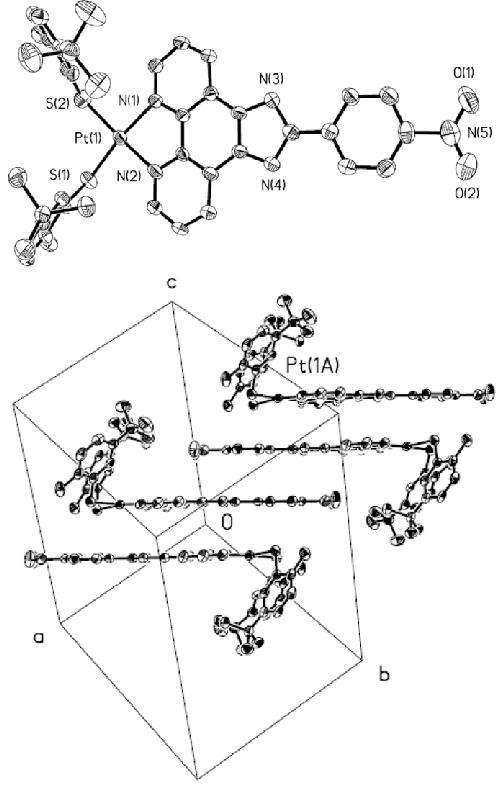 Molecular structure of Pt(L-NO 2 )(S-Me t Bu) 2 (top-view