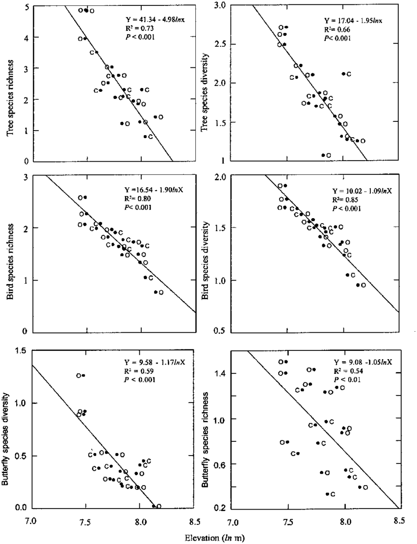 medium resolution of simple regression comparison of woody tree bird and butterfly diversity with elevation along yuksam