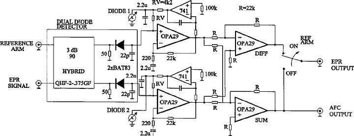 Block diagram of the dual diode detector. The rf side of