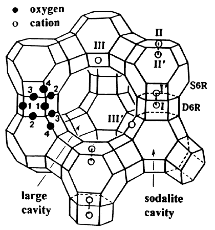 Stylized drawing of the framework structure of zeolite X