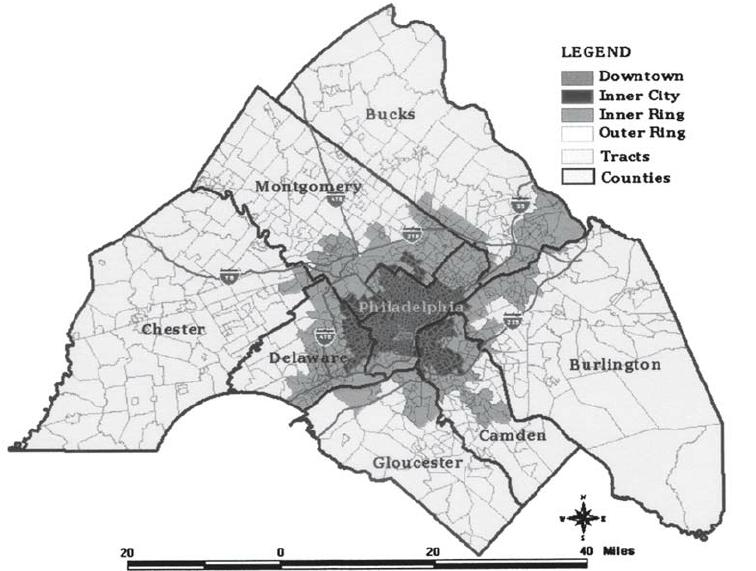 Philadelphia's Downtown, Inner City, Inner-Ring Suburbs