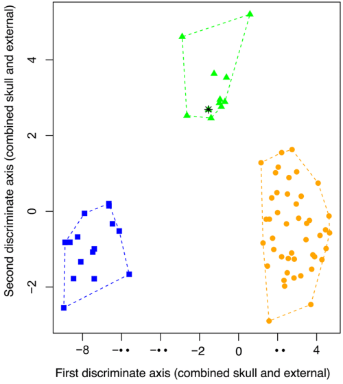 small resolution of first two axes of a ldfa based on 14 factors of combined skull dental and