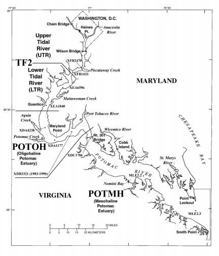 Map Ð Chesapeake Bay Program segments and stations for the