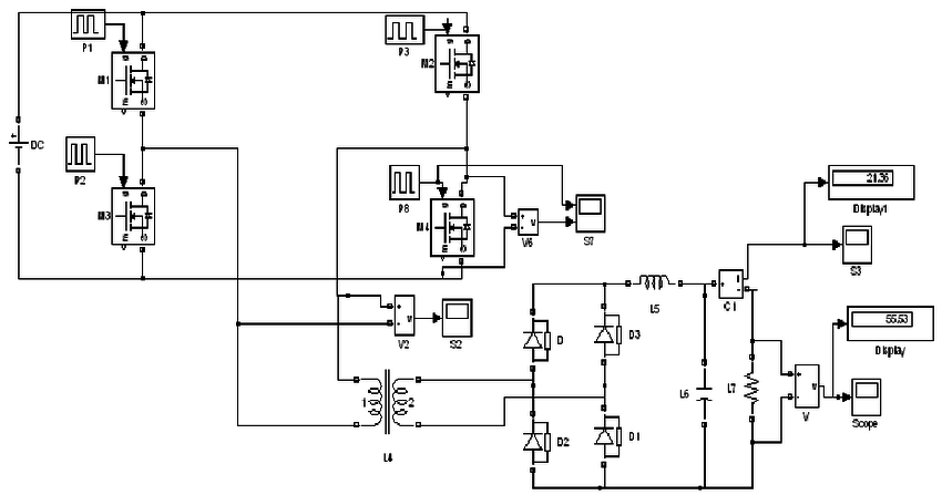 a: Circuit diagram of ZVS full bridge DC-DC converter