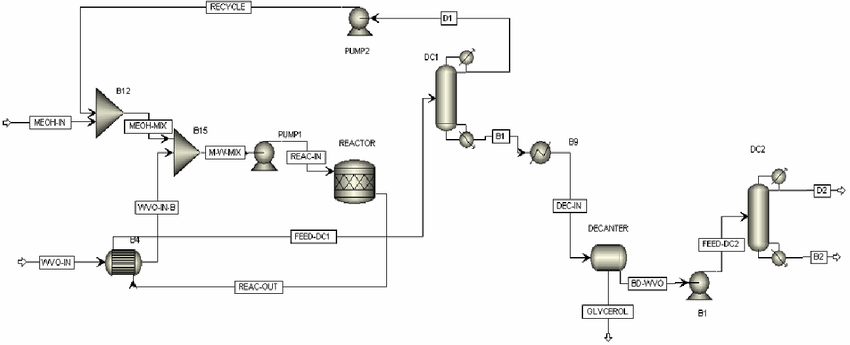 Biodiesel process flowsheet with solid acid catalyst