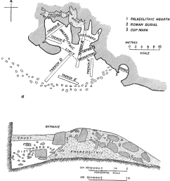 cave plan and section after turville petre 1927 plate ii  [ 850 x 950 Pixel ]