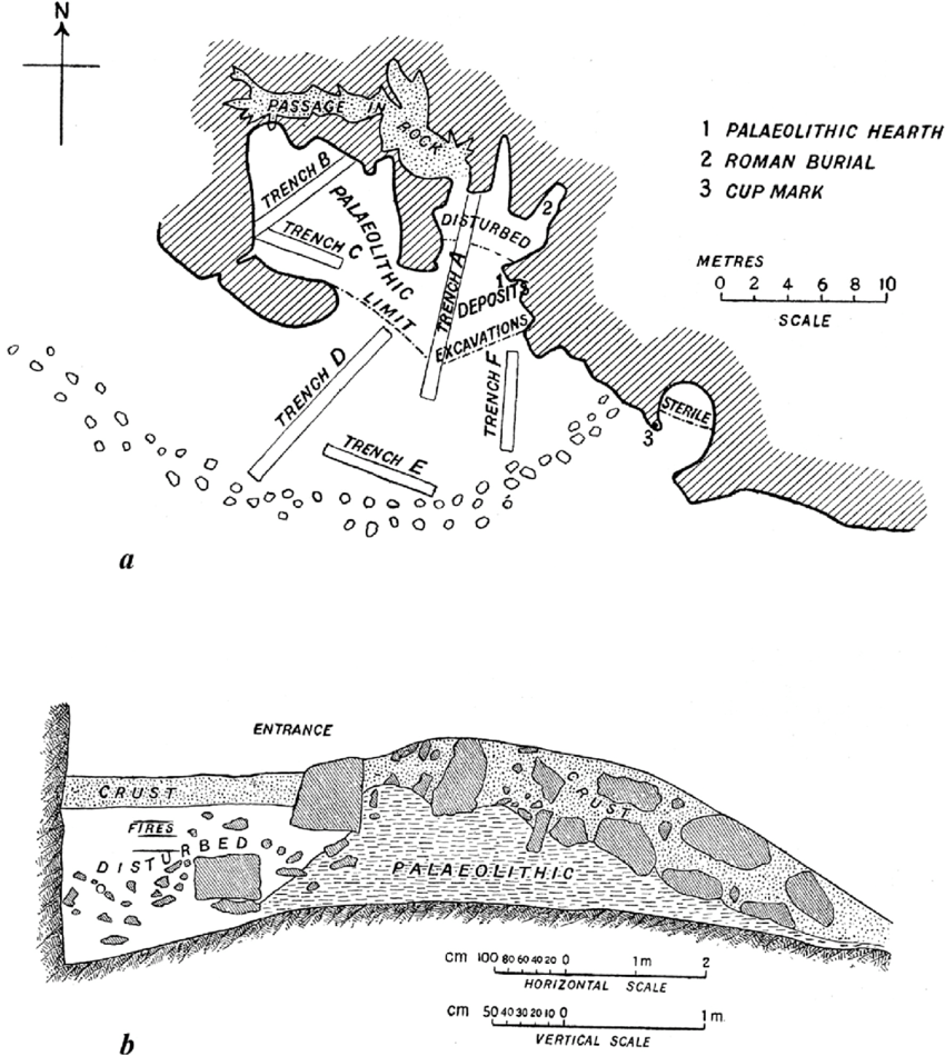 hight resolution of cave plan and section after turville petre 1927 plate ii
