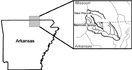 Map showing extent of Spring River catchment (black line