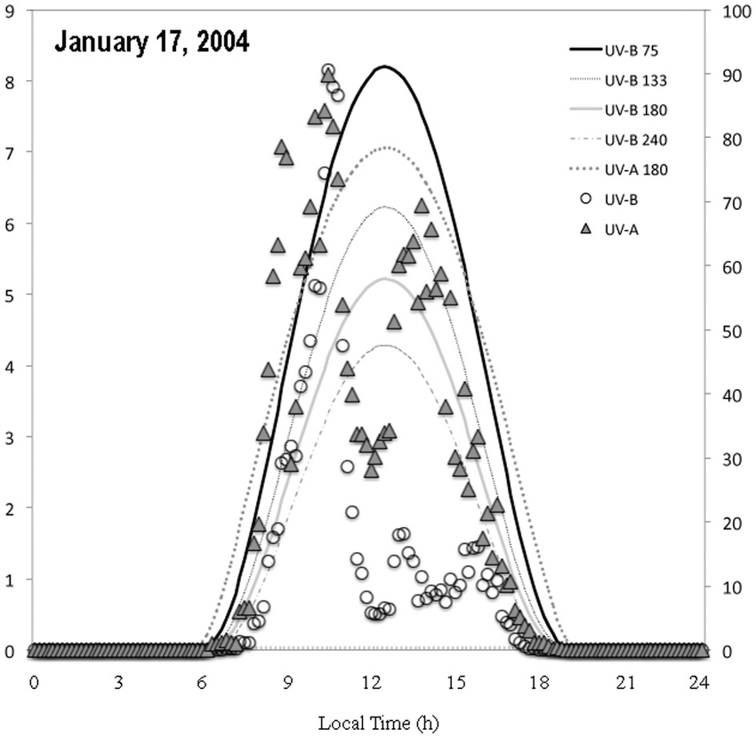illustrates the January 17, 2004 case. UV-A increased in