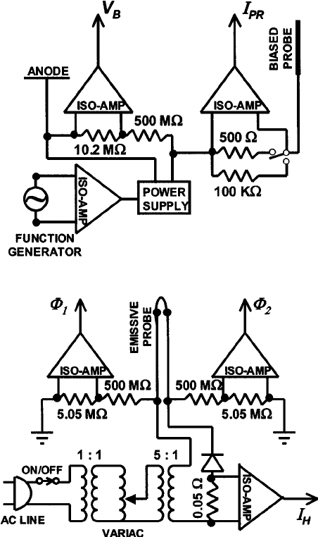 Biased and emissive probe electronic circuit diagrams for