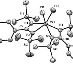 ORTEP picture of the molecular structure of complex 9 (50%