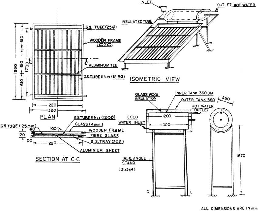 Schematic of solar water heater with G.S-Al flat-plate