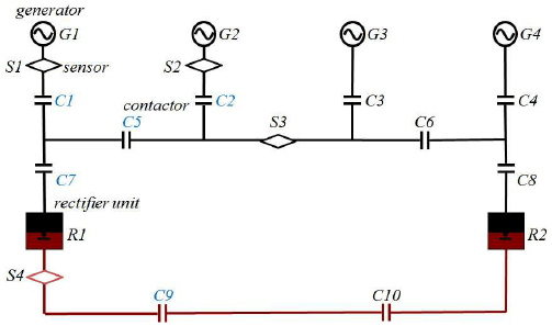A single-line diagram of a larger circuit with AC and DC